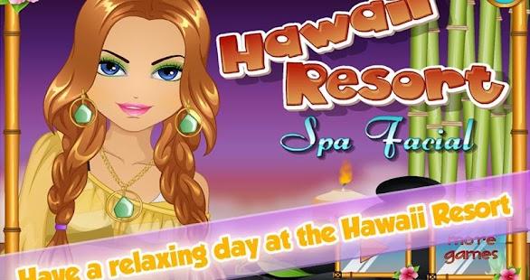 夏威夷溫泉度假村臉:面具和夏季的改造與夏威夷泳裝。