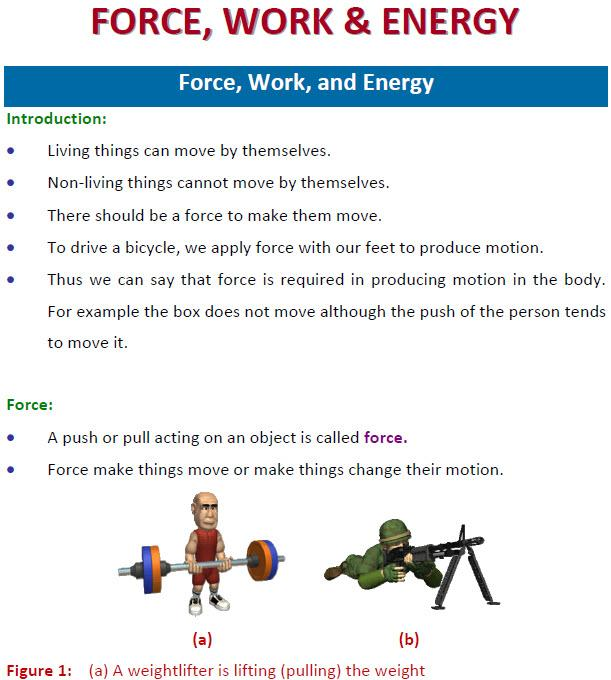 Force Work And Worksheets. Force. Free Worksheet Sample