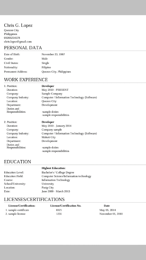 myresume resume creator screenshot - Google Resume Maker