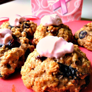 Oatmeal Cookies with Dried Cranberries, Dark Chocolate, and Walnuts with Yogurt Topping