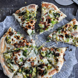 Cast Iron Skillet Brussels Sprouts Bacon Pizza.