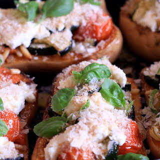 Butternut Stuffed with Grilled Vegetables and Goat Cheese.