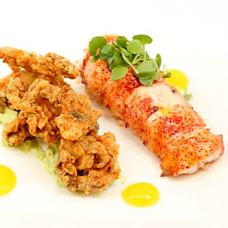 Poached Lobster Tails, and Fried Oyster with Mango and Avocado Purée.