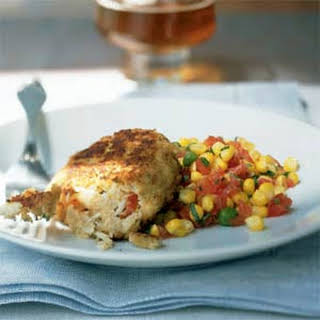 Pearl Oyster Bar Crab Cakes with Sweet Corn Ragout.
