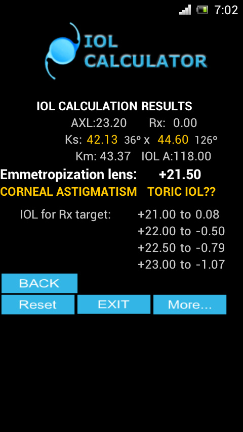 IOL CALCULATOR - screenshot