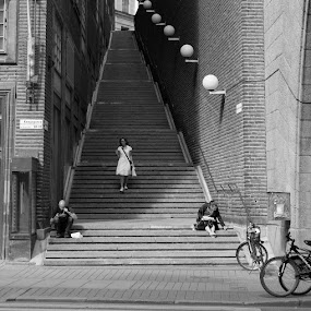 The stairs by Claes Wåhlin - Black & White Street & Candid ( stairs, stockholm, black and white, woman, street,  )