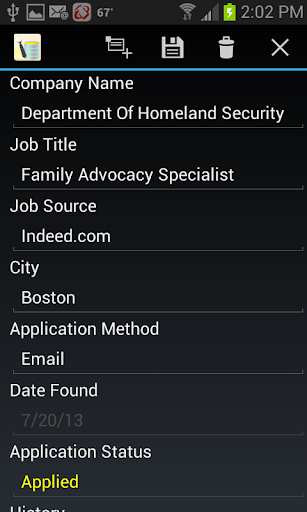 Job Application Db