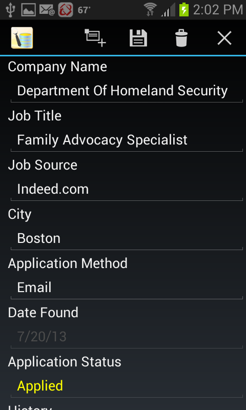 Job Application Db - screenshot