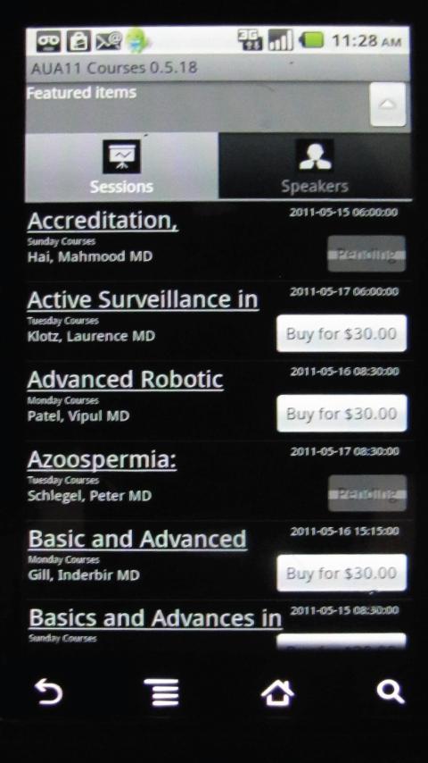 AUA 2011 Courses - screenshot