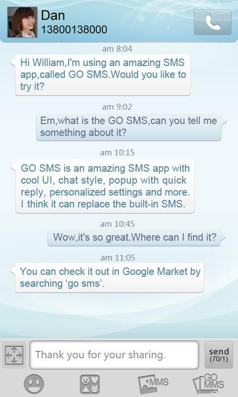 GO SMS Pro Light Blue theme screenshot #2