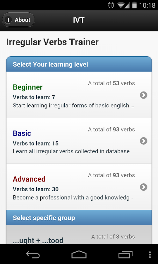 IVT - Irregular Verbs Trainer- screenshot