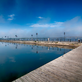 Meyer's Pier, Bay of Quinte, Belleville by Lisa Wessels - Landscapes Waterscapes ( water, meyer's pier, sky, bay, blue, pier, bridge,  )