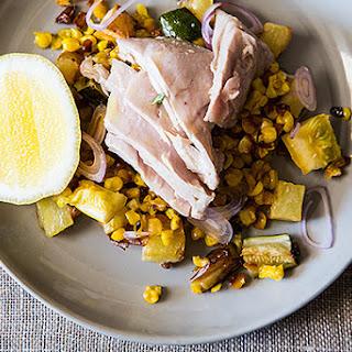 Poached Tuna with Warm Squash, Corn, and Potato Salad