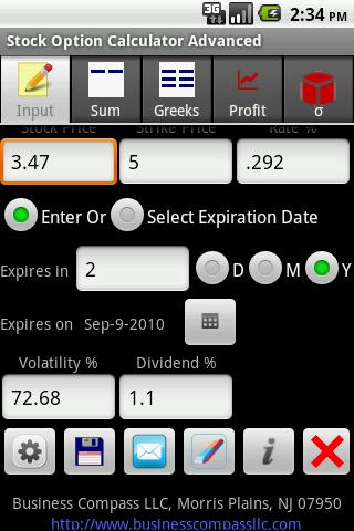 Stock options estimator