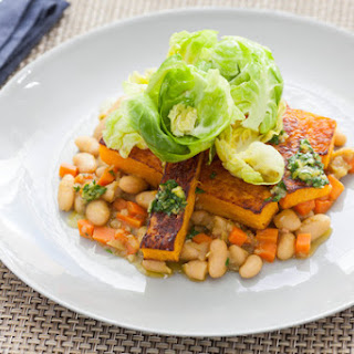 Roasted Butternut Squash with Stewed White Beans, Gremolata & Brussels Sprouts