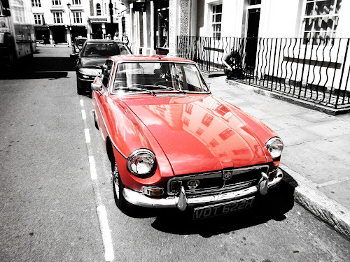 Red by Alexandra Rafaila - Transportation Automobiles ( car, red, vintage, black and white, street, mg, transportation,  )