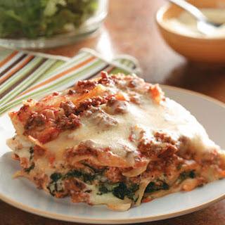 Ground Beef Spinach Alfredo Lasagna.