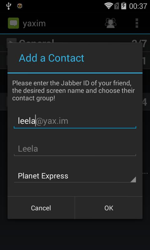 yaxim - XMPP/Jabber client- screenshot