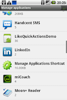 Screenshot of Manage Applications Shortcut
