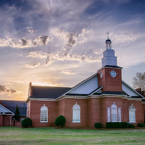 Lexington Presbyterian Church by Russell McFarland - Buildings & Architecture Places of Worship ( clouds, church sunset, beautiful church, presbyterian church, lexington presbyterian church, church, presbyterian, sunsets, sunset, beautiful day, sunset church )