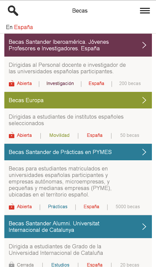 Becas: captura de pantalla