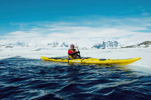 Antarctica-kayaking-Hurtigruten-Fram - Paddle between ice floes in the waters of Antarctica during your cruise aboard Fram, Hurtigruten's flagship.