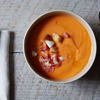Salmorejo (Cold Spanish Tomato Soup with Serrano Ham).