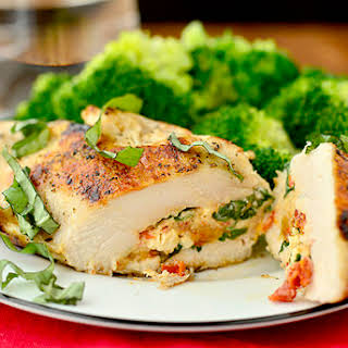 Sun Dried Tomato and Basil Stuffed Chicken Breasts.