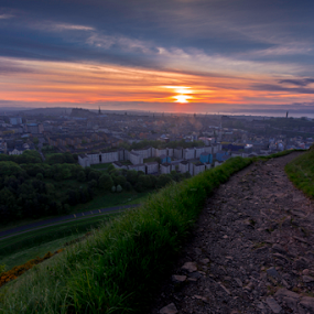 Sunset From Arthur's Seat Overlooking Edinburgh by Philip Cormack - City,  Street & Park  Skylines ( hill, scotland, peaceful, grass, edinburgh photographer, beautiful, scottish, beautiful edinburgh, united kingdom, city, arthur's seat, edinburgh, sky, great britain, sunset, edinburgh photography, buildings, summer, landscape photography, trees, edinburgh castle )