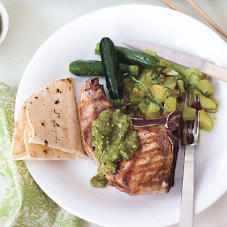 Grilled Pork Chops with Tomatillo Salsa.