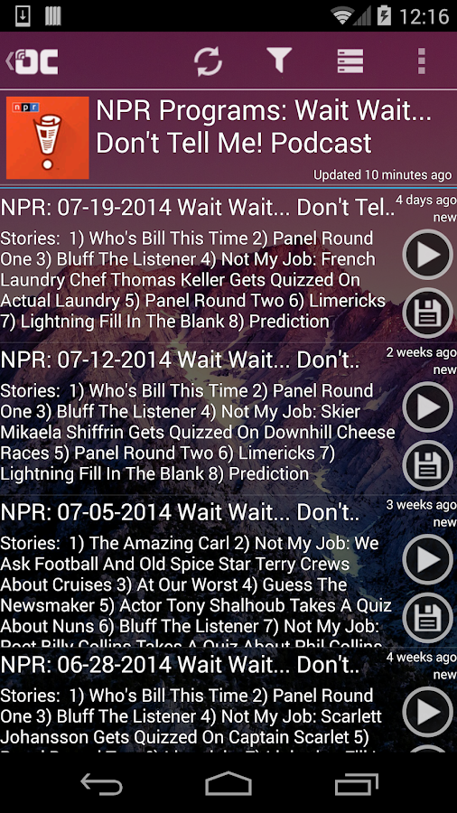 OneCast - podcast simply - screenshot