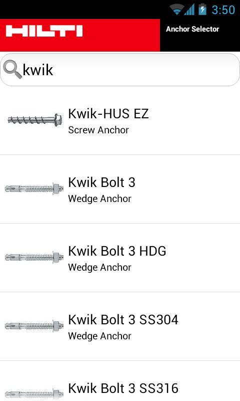 Hilti US/CA Anchor Selector - screenshot