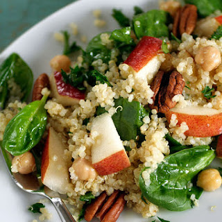 Quinoa Salad with Pears, Baby Spinach and Chick Peas in a Maple Vinaigrette.