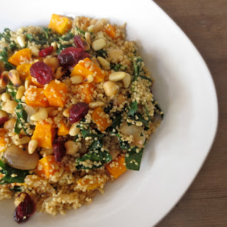 Butternut Squash Couscous with Cranberries and Greens