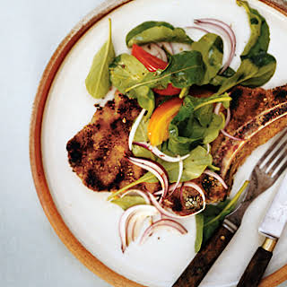 Grilled Veal Chops with Arugula and Basil Salad.