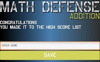 Screenshot of Math Defense - Addition