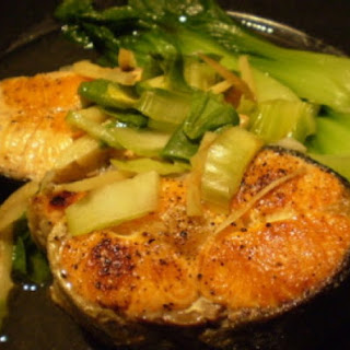 Seared Salmon Steaks With Sesame Ginger Bok Choy.