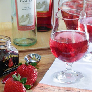 Pink Moscato Sangria with Strawberries & Hibiscus