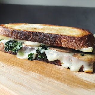 Gruyere Grilled Cheese with Garlic Kale Chips and Rosemary Mushrooms.
