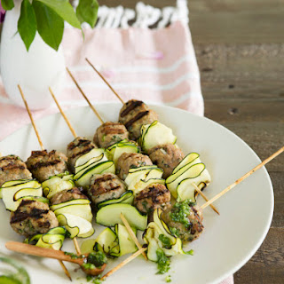 Turkey Koftas with Zucchini Ribbons & Chimichurri.