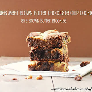 Brown Butter Chocolate Chip Cookie Brownie Bars aka Brown Butter Brookies.