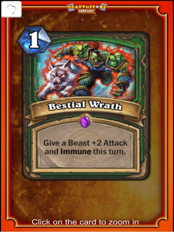 Hearthstone Cards list - screenshot