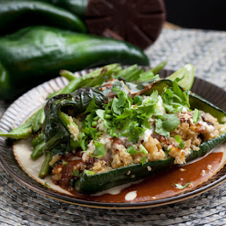 Quinoa-Stuffed Poblanos with Mole Sauce & Green Beans Recipe