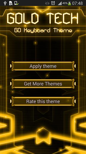 GO Keyboard Gold Tech Theme