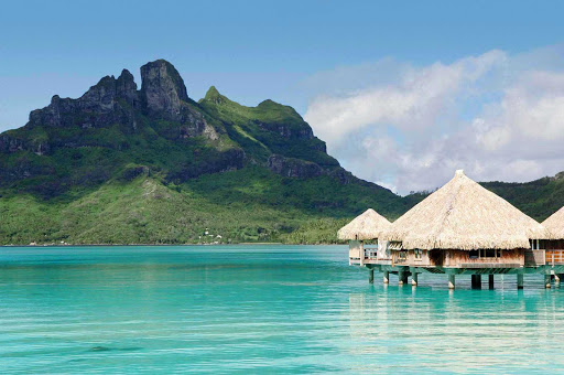 Mount Otemanu serves as a backdrop to the St. Regis Bora Bora Resort.