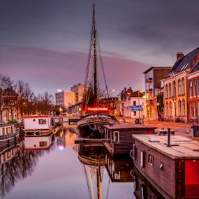 Kanal in Groningen by Anita  Christine - Landscapes Travel ( water, 2014, waterscape, kanal, cityscape, nederlands, landscape, netherlands, herbst, autumn, holland, gronigen, city kanal, river,  )