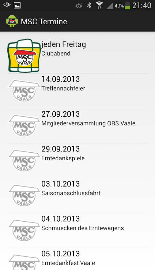 MSC Vaale e.V. APP- screenshot