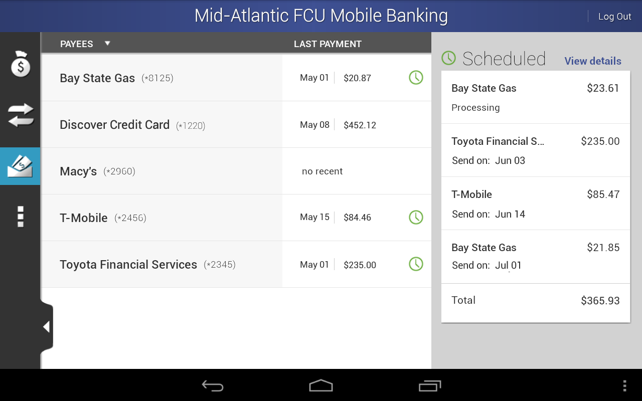 MAFCU Mobile Banking App- screenshot