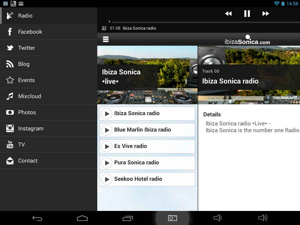 Ibiza Sonica Radio - app fan - screenshot