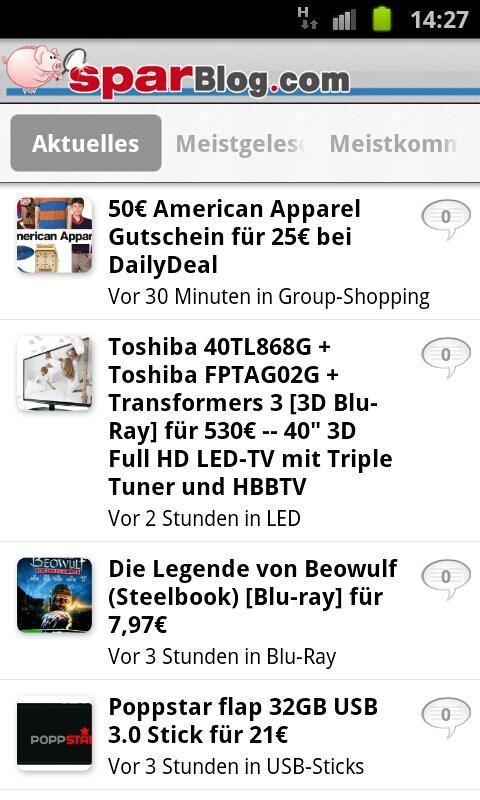 SparBlog.com – Schnäppchen App- screenshot